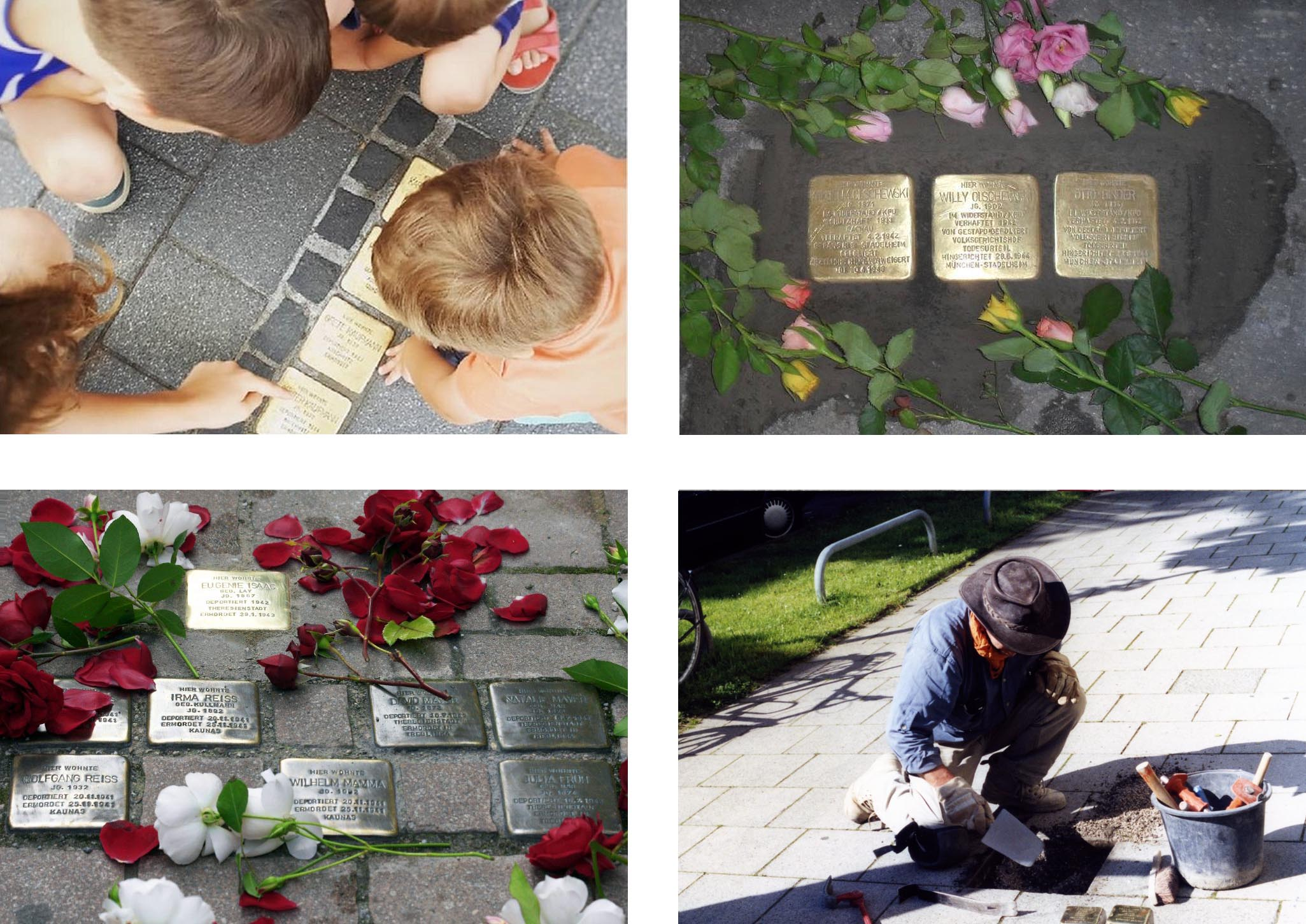 Four images showing the Stolpersteine in Munich