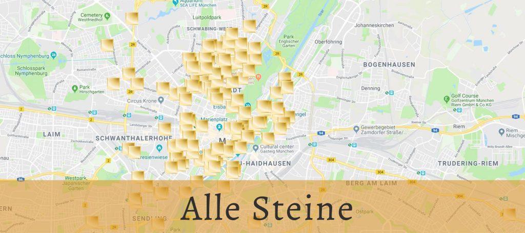 A screen shot of a map of all the Stolpersteine in Munich: the laid, the exhibited ones and the kept ones | Ein Screenshot einer Karte mit allen Stolpersteinen in München: das legte, die ausgestellten und die aufbewahrten.
